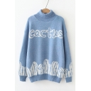 Turtleneck Long Sleeve CACTUS Printed Loose Fitted Sweater