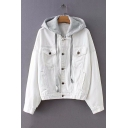 Winter's Long Sleeve Detachable Gray Hood Button Down White Denim Coat