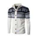 Fashion Geometric Snowflake Printed Long Sleeve Stand Collar Button Down Cardigan