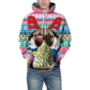 3D Christmas Dog Geometric Pattern Color Block Unisex Casual Hoodie