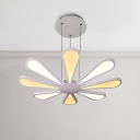 Modern Flower LED Chandelier 72W LED Warm White 8 Light Wedge Chandelier in White for Living Room Dining Table Study Room