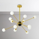 Indoor Decorative Lights for Room 6/12/16 Light Modo Chandelier in Frosted Shade Kids Room Bedroom Living Room Glass Sphere Chandelier in Gold