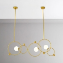 Polished Brass Olympic Rings 3 Light LED Chandeliers Cafe Restaurant Home Decoration Led Lights Glass Globe Chandelier in Frosted Shade