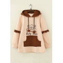 BABY BEAR Cartoon Printed Color Block Ruffled Long Sleeve Hoodie for Juniors