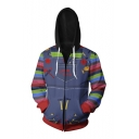 Street Style 3D Cartoon Printed Colorblock Stripe Long Sleeve Zip Placket Fitted Hoodie