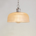Modern Pendant Single Light with Dome Shade Clear Glass in Chrome for Bedroom Living Room