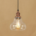 Industrial Ceiling Pendant 1 Light with Clear Glass Cucurbit Shade in Rust for Kitchen Warehouse