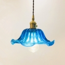 Vintage Style Ceiling Pendant 1 Light with Blue Glass Floral Shade in Brass for Foyer Dining Room