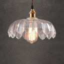 Modern Ceiling Pendant 1 Light with Clear Glass Floral Shade in Brass for Cafe Dining Room Kitchen