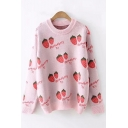 Popular All Over Strawberry Printed Long Sleeve Crewneck Pink Knit Fitted Sweater