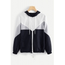 New Trendy Hooded Long Sleeve Fashion Color Block Drawstring Hem Zip Up Sports Coat