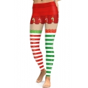 Christmas Red and Green Color Block Elastic Waist Skinny Fit Leggings