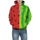 Unique Red and Green Colorblock Watermelon Printed Long Sleeve Hoodie