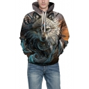 3D Lion Printed Long Sleeve Gray Sports Hoodie for Couple