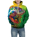 Winter's New Fashion Green 3D Pattern Long Sleeve Loose Leisure Hoodie