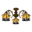 Multicolored Square House Shade Semi Flush Light in Bronze Finish for Restaurant Kids Room