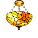 Sunflower Pattern 2/3 Lights Inverted Ceiling Pendant Lamp in Brass Finish 3 Sizes Available