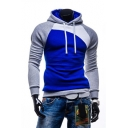 Men's Winter New Fashion Long Sleeve Colorblock Slim Fitted Hoodie
