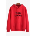 TEAM LEADER Letter Printed Long Sleeve Casual Loose Hoodie for Juniors