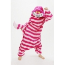 Red Striped Printed Button Front Cheshire Cat Unisex Onesie Pajamas