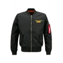 Men's Classic Stand Collar Long Sleeve Logo Letter Zip Up Bomber Jacket