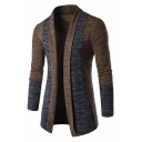 Men's Fitted Long Sleeve Fashion Color Block Open Front Longline Cardigan