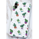 Trendy Green Cactus Printed White Mobile Phone Case for iPhone