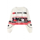 Cartoon Horse Letter Printed Round Neck Long Sleeve Loose Leisure Cropped Sweatshirt