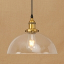 Vintage Dome Suspended Light Clear Glass 1 Head Pendant Lamp in Brass/Copper Finish for Dining Room