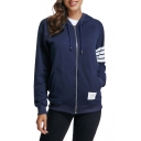 Women's Casual Sports Classic Striped Long Sleeve Zip Up Loose Hoodie