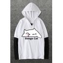 Lovely Cartoon Cat Pattern Letter BONGO CAT Color Block Cotton Hoodie