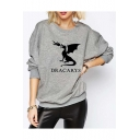 Chic Letter DRACARY Fire Dinosaur Printed Long Sleeve Loose Gray Sweatshirt