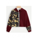 Trendy Camo Pattern Two-Tone Color Block Long Sleeve Burgundy Cropped Hoodie