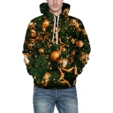 Chic 3D Christmas Bling Ball Printed Long Sleeve Green Unisex Sports Hoodie