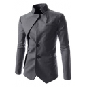 Unique Stand Up Collar Long Sleeve Button Front Patched Solid Slim Fitted Blazer Coat
