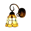 Jewel Wall Sconce with 6''W Embelished Pattern Glass Shade