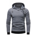 Popular Long Sleeve Contrast Trim Buckle Embellished Slim Hoodie for Men
