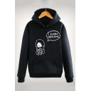 Funny Cartoon Figure Letter I KNOW NOTHING Printed Long Sleeve Loose Hoodie