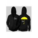 Hot Popular Letter Yellow Umbrella Pattern Back Long Sleeve Zip Up Cotton Hoodie