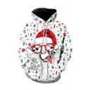 3D Christmas Series Cartoon Deer Printed Long Sleeve Loose White Hoodie for Men
