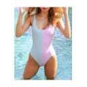 Popular Colorblock Scoop Neck Sleeveless One Piece Swimwear