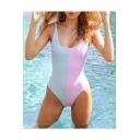 Popular Colorblock Scoop Neck Sleeveless One Piece Swimwear