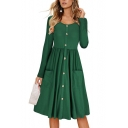Casual Long Sleeve Round Neck Plain Button Embellished Front Fit & Flare Midi Dress with Pockets