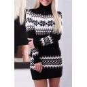 Cozy Long Sleeve Turtleneck Colorblock Tunics Sweater