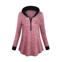 Long Sleeve Zip Embellished Colorblock Leisure Hoodie