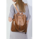 Women's Chic Simple Solid Two-Way Soft Leather Backpack