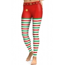 Classic Red and Green Striped Printed Elastic Waist Yoga Leggings