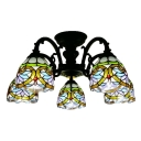 Baroque Style 5-Bulb Semi Flush Mount Ceiling Light in Black Finish 24.41