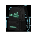Cute Luminous Green Einstein Relativistic Formula Cartoon Printed Black Schoolbag