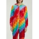 Color Block Fish Scale Printed Hooded Long Sleeve Cosplay Fleece Unisex Onesie Pajamas